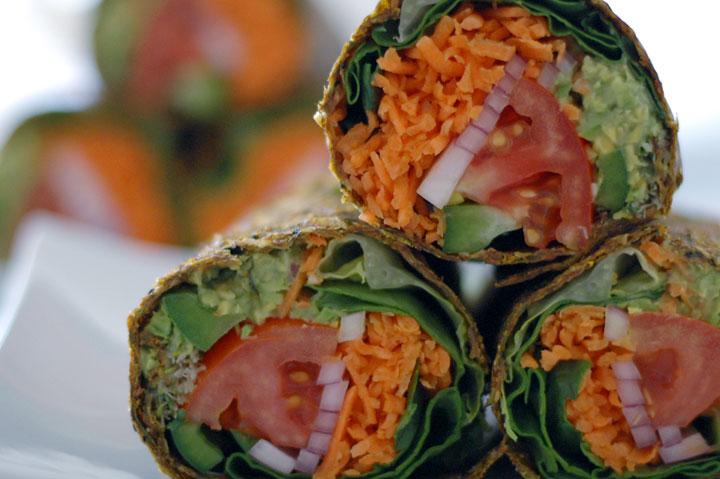 Raw Guacamole Burrito in Zucchini & Flaxseed Wrap