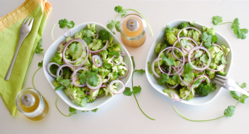 The Global Girl shares her raw vegan diet essentials: raw marinated broccoli salad recipe with cilantro and red onion