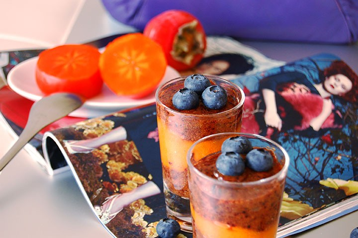 The Global Girl Raw Dessert Recipes: Raw Persimmon/Blueberry Parfait. This delicious raw parfait is vegan, fat-free, sugar-free, dairy-free and gluten-free.