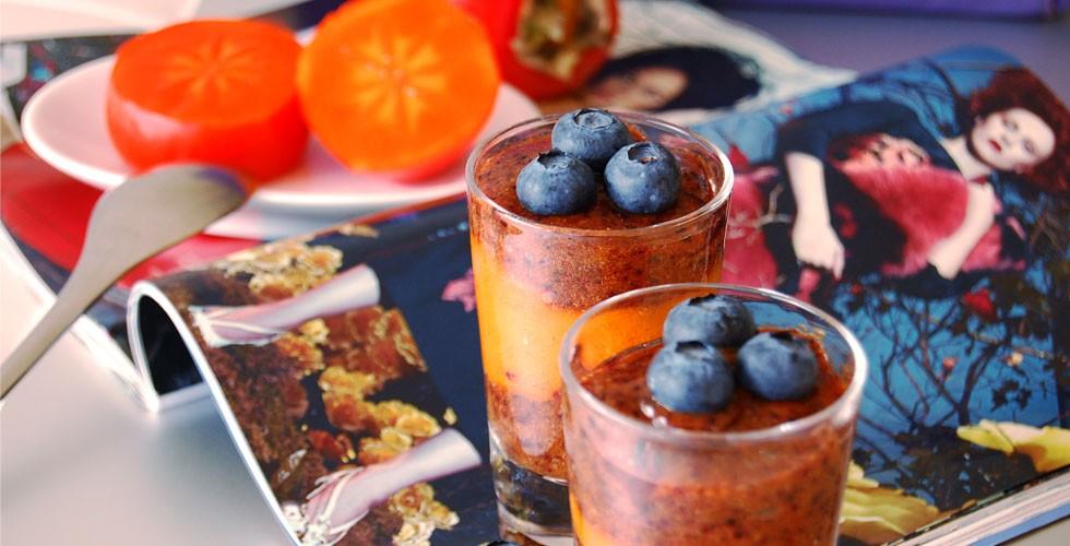 Raw Persimmon & Blueberry Parfait