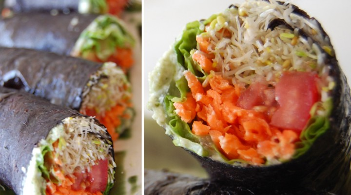 Raw Vegan Recipe: No-Rice Raw Vegan Sushi with Basil and Jalapeño Cashew Dip