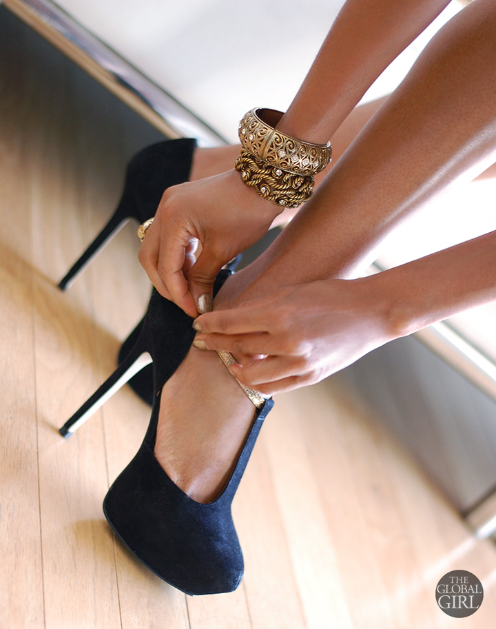 the-global-girl-theglobalgirl-report-signature-black-suede platform-heels-shoes-gold-bracelet-jewelry