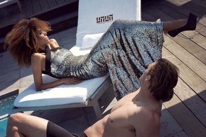 The Global Girl Fashion Cinema Series: In this scene shot at the Thompson Beverly Hills rooftop swimming pool on the set of The Global Girl's new film Second Chance, Ndoema sports a silver sequin halter mermaid dress by Australian designer Rachel Gilbert, snake platform pumps with silver metal heels by Monika Chiang and Swarovski Crystal-studded ear cuffs by Monika Chiang