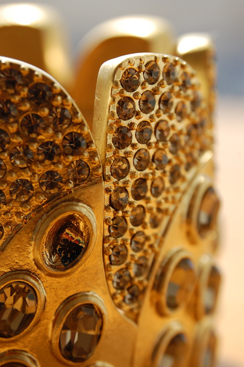 Topaz rhinestone encrusted gold bracelet