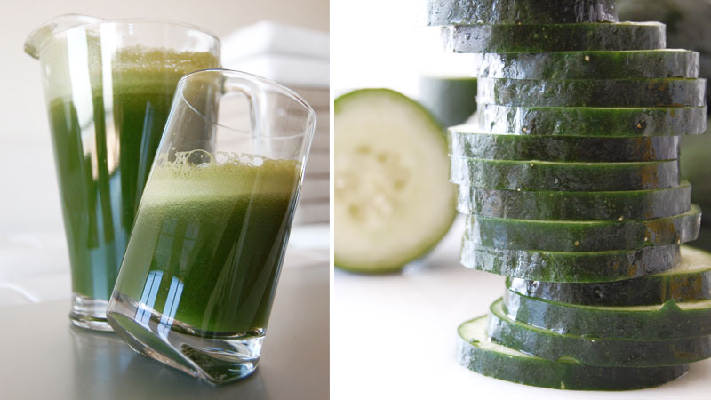 Green Juice Recipe: kale, cucumber, tomato, carrot, lemon