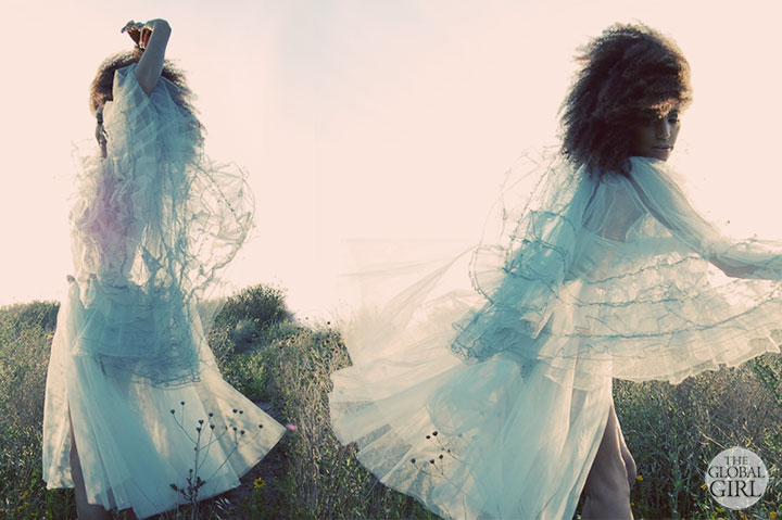 The Global Girl Fashion Editorials: In this fairy tale inspired photoshoot, Ndoema limbers up for a dance in in a fairy tale worthy vintage blue tulle dress.