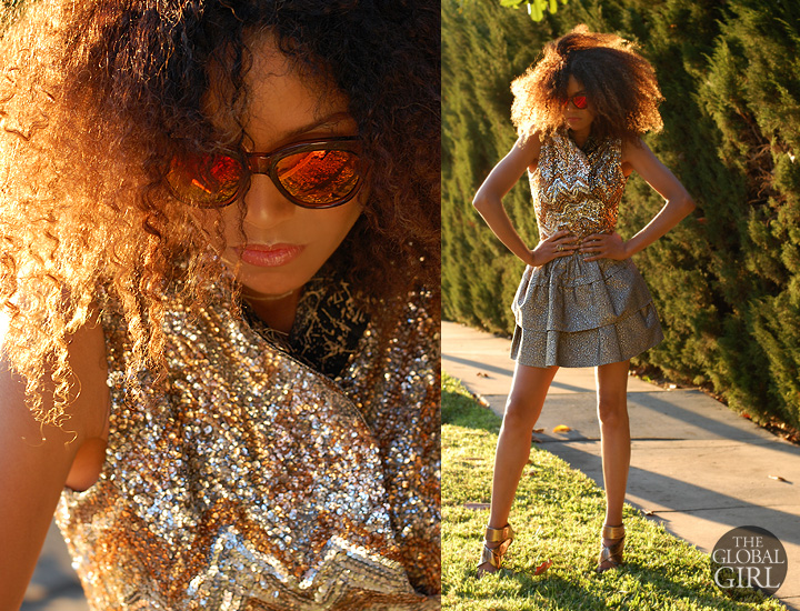 The Global Girl Daily Style: Ndoema sports the all-gold look in a Diane Von Furstenberg a-line mini skirt, Camilla Skovgaard sandals, Le Specs cat eye mirrored sunglasses, vintage sequin top and Banana Republic jeweled clutch.