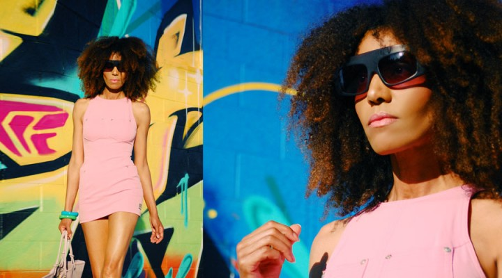 Ndoema sports a pink Versace dress, Phillip Lim sunglasses, Paola Graglia Bag and Report Signature floral high heel shoes