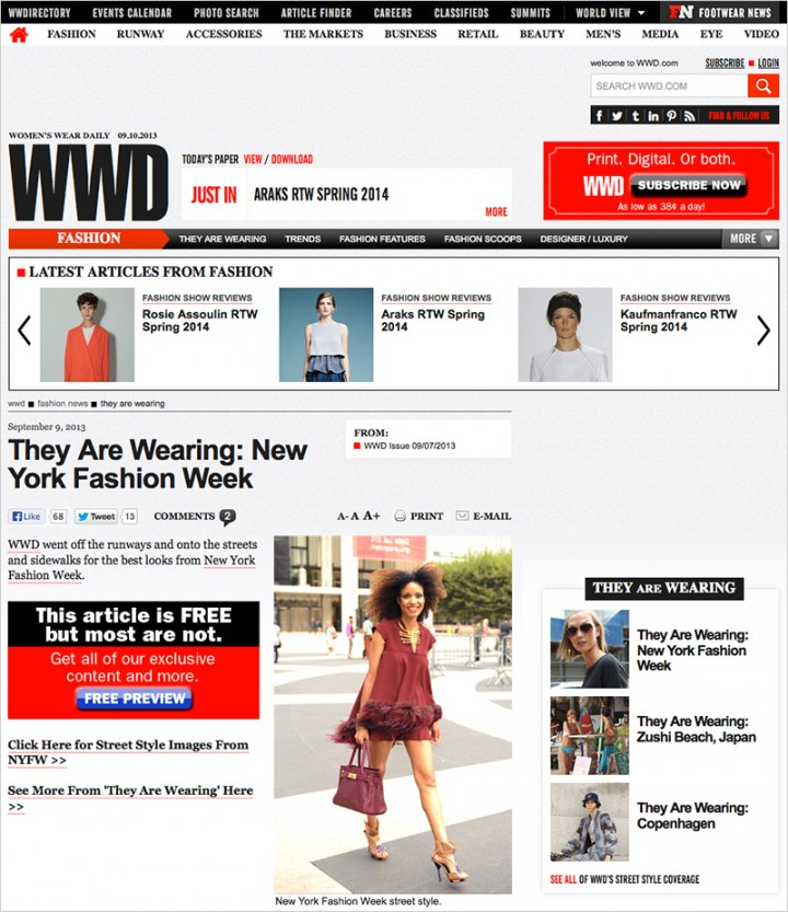 The Global Girl Press: Ndoema featured in Women's Wear Daily as she arrives to Lincoln Center on day one of New York Fashion Week.