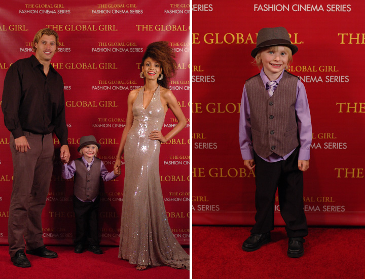 The Global Girl Fashion Cinema Series: Ndoema, Carter Trogdon and Colin Bryant at the red carpet premiere of Second Chance.