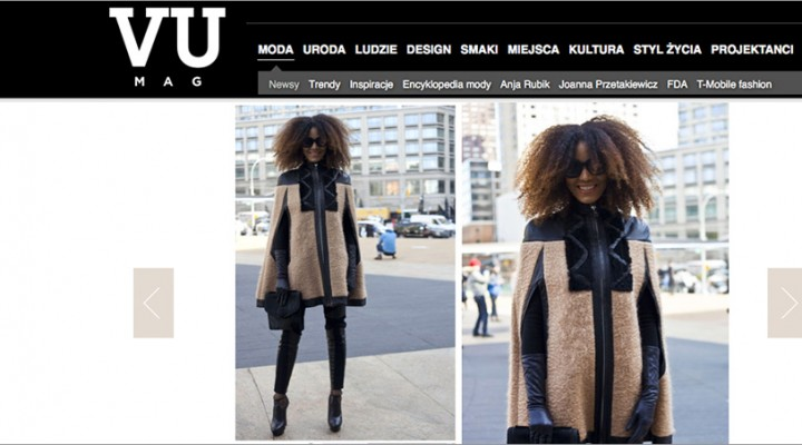 The Global Girl Press: Ndoema featured in VU Mag sporting Wool and leather trim cape with python and merino wool pants by Mimi Plange, Topshop Stella platform booties, Emanuel Ungaro bag and Chloé Sunglasses - New York Fashion Week Fall 2014