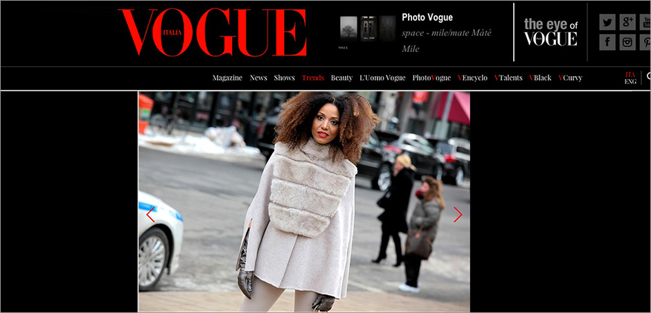 The Global Girl Press: Ndoema featured in British Vogue sporting Son Jung Wan beige cape and matching high-waisted pants - New York Fashion Week Fall 2014