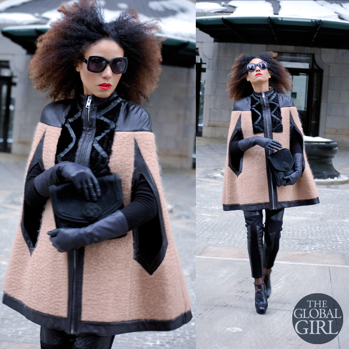 The Global Girl Daily Style: Ndoema rocks the winter cape look during New York Fashion Week in a wool and leather cape with leggings by Mimi Plange, Emanuel Ungaro bag, Topshop booties, vintage leather gloves and Chloe sunglasses.